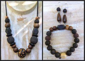 lava diffuser jewelry chunky jungle set, lava diffuser jewelry, essential oil jewelry